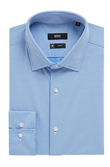 男士纯色时尚商务休闲长袖衬衫,  420_中蓝色