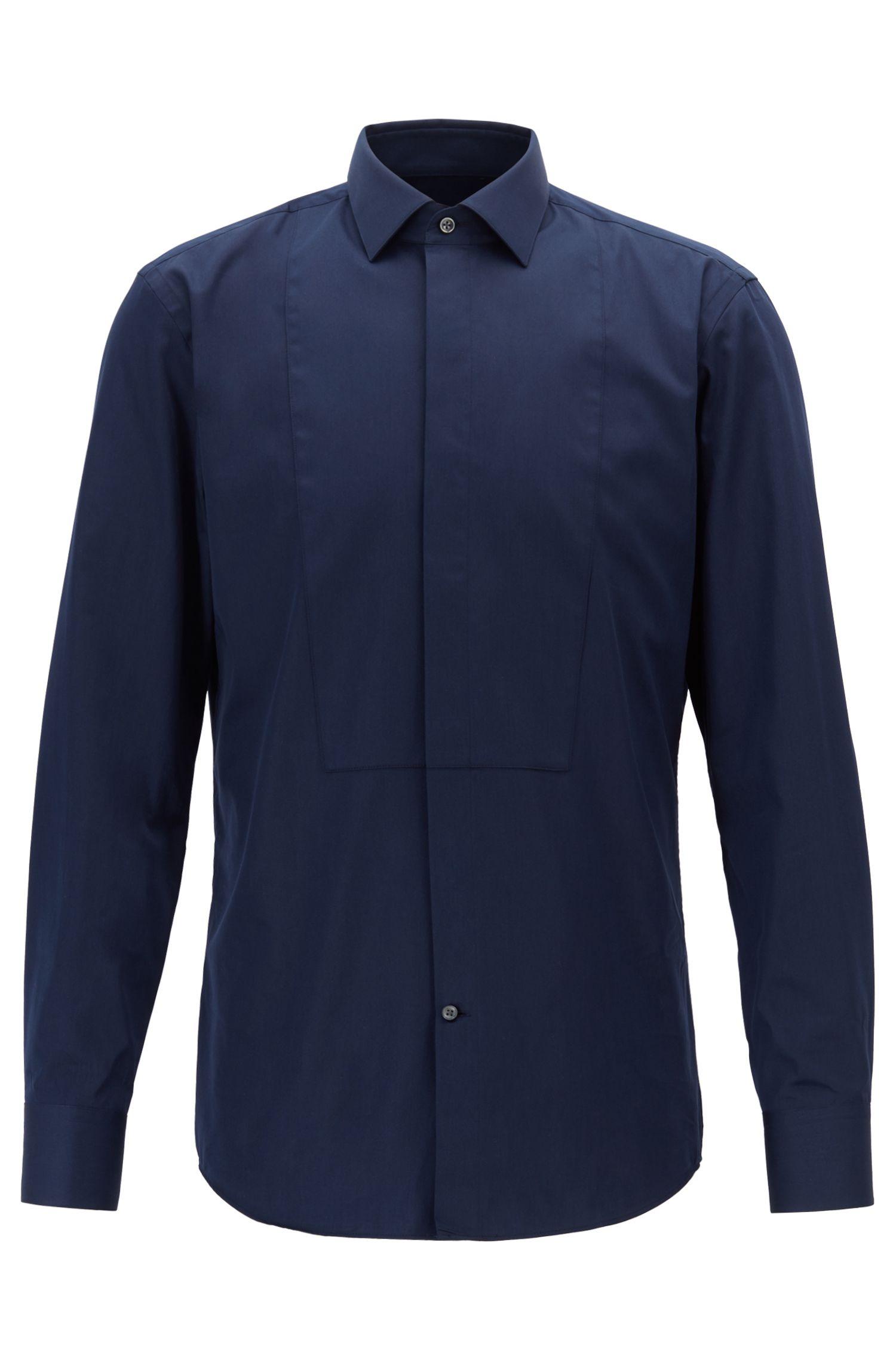 Camicia formale slim fit in cotone effetto satin con polsini alla francese, Blu scuro
