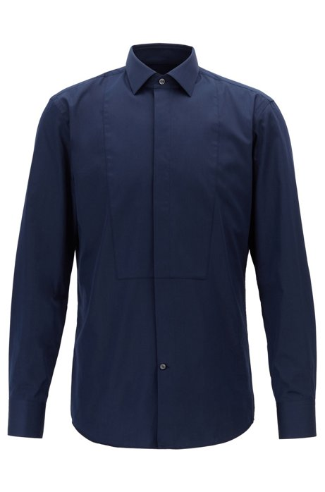 00ae89928 Slim-fit dress shirt in cotton sateen with French cuffs, Dark Blue