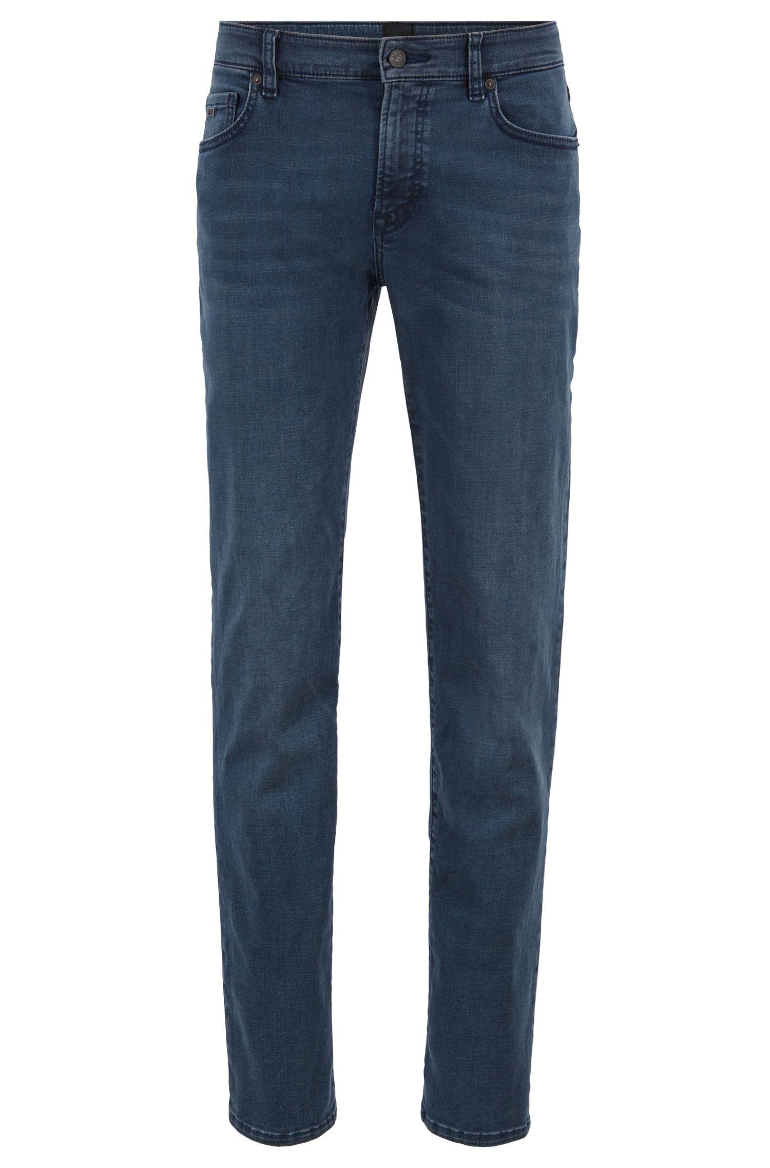 Regular-fit jeans in dark-blue overdyed stretch denim, Dark Blue