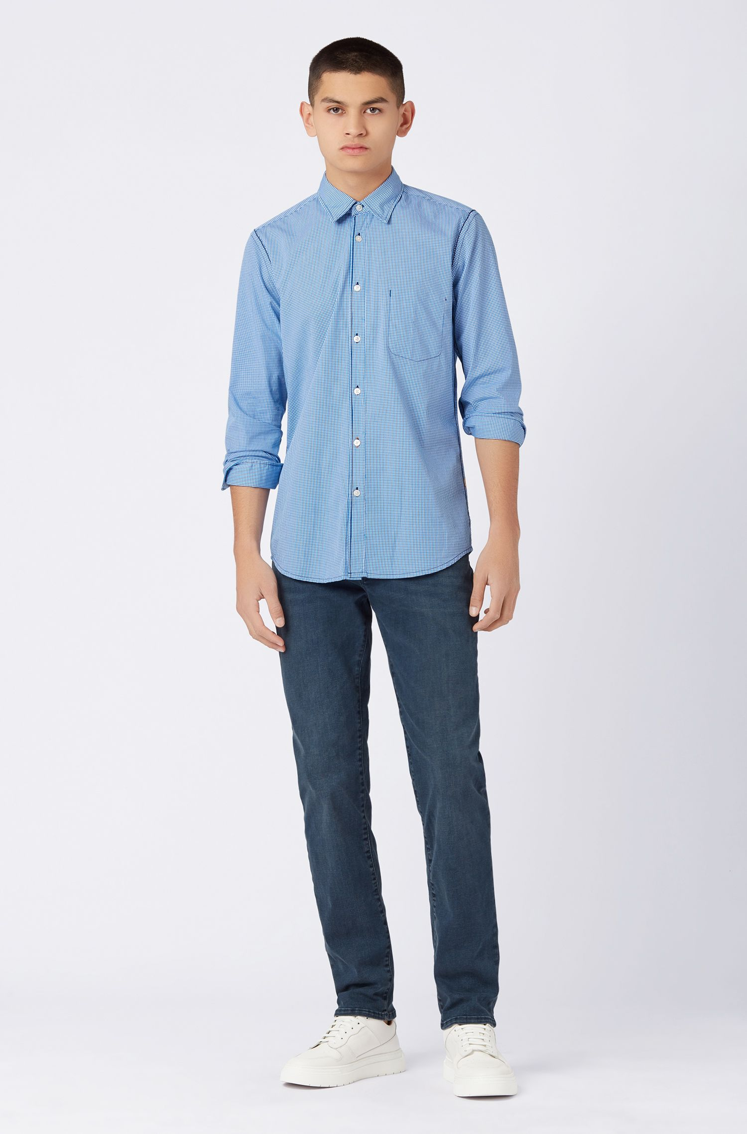 Regular-Fit Jeans aus überfärbtem Stretch-Denim, Dunkelblau