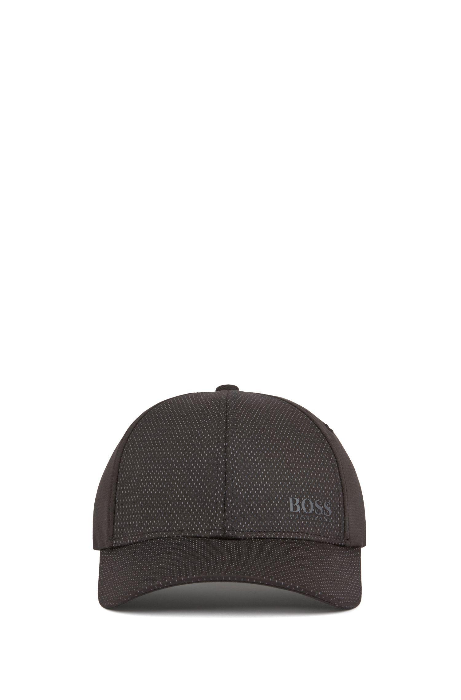 Gorra con logo en tejido elástico técnico con estructura de malla y S.Café®, Negro