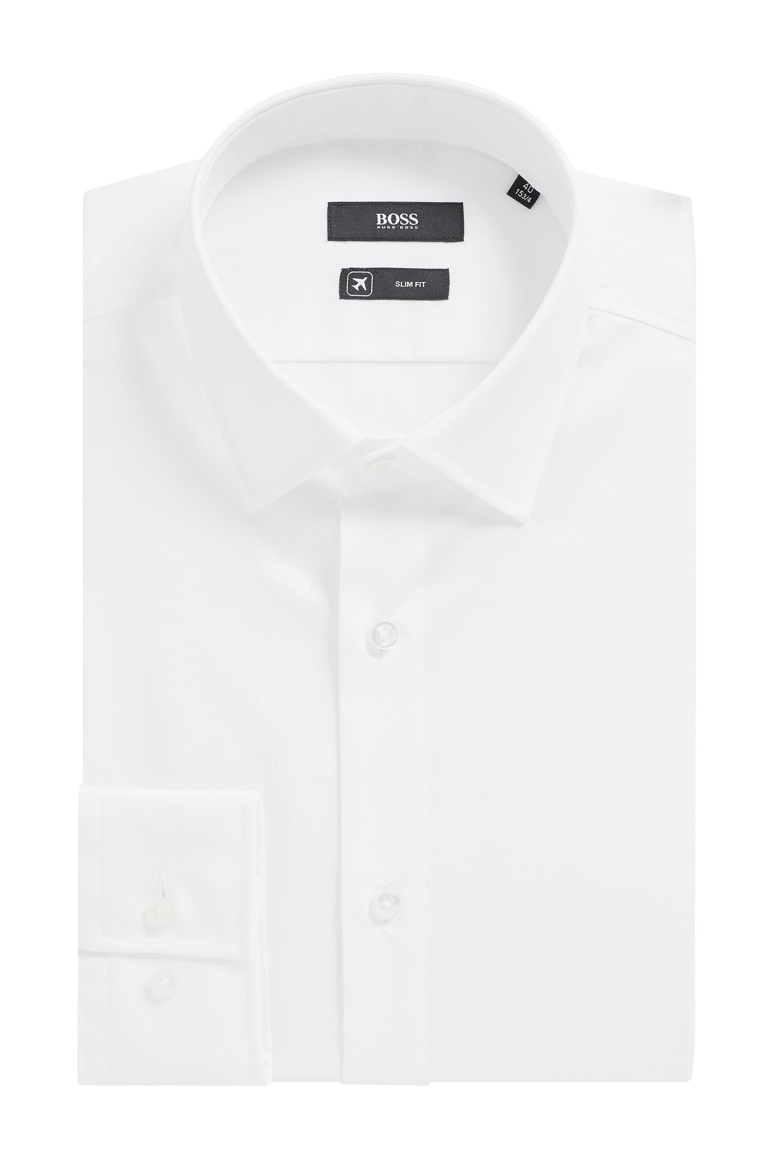 Swiss cotton slim-fit shirt with Coolest Comfort finishing, White