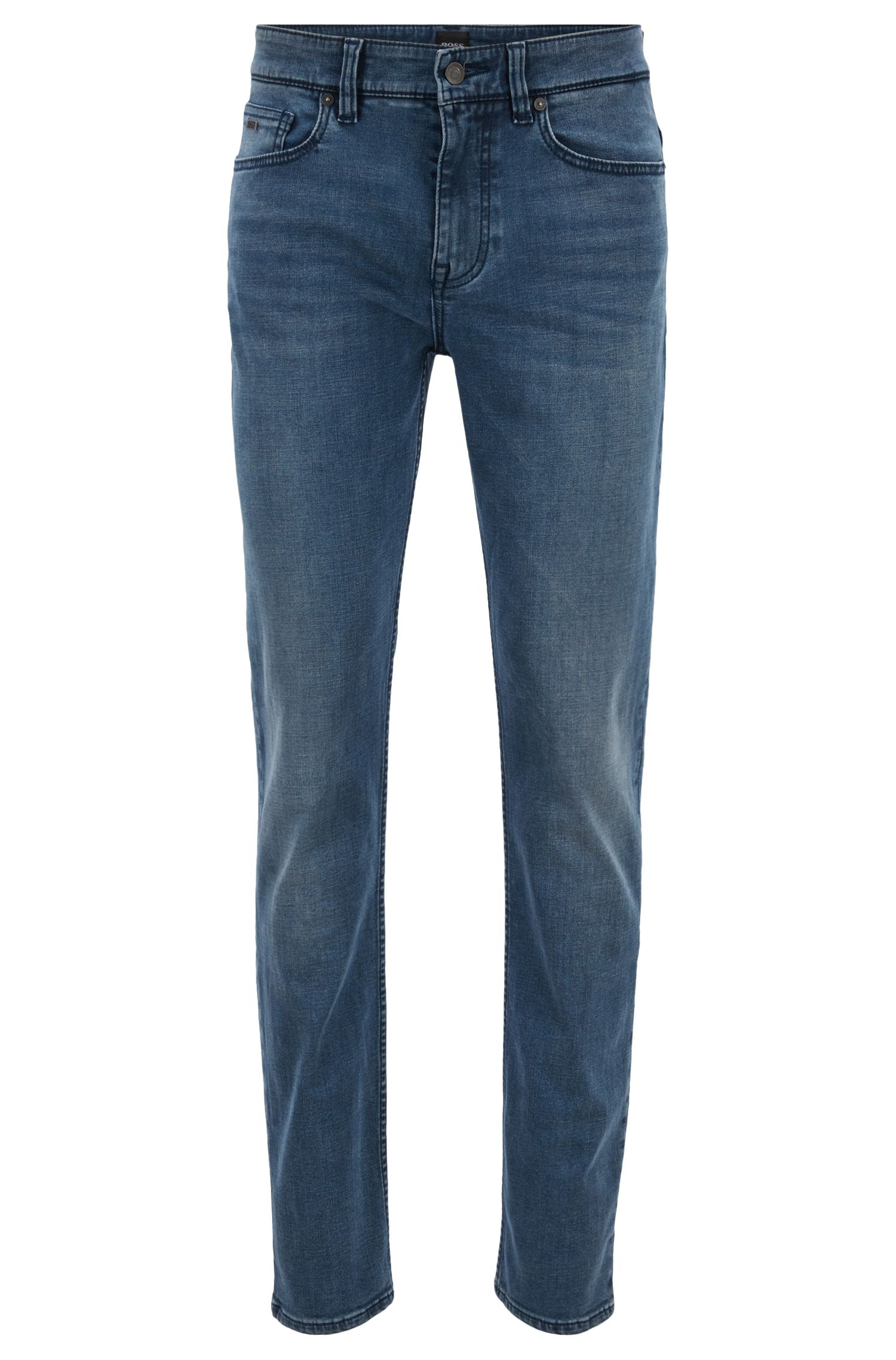 Slim-fit jeans in dark-blue stretch denim, Dark Blue