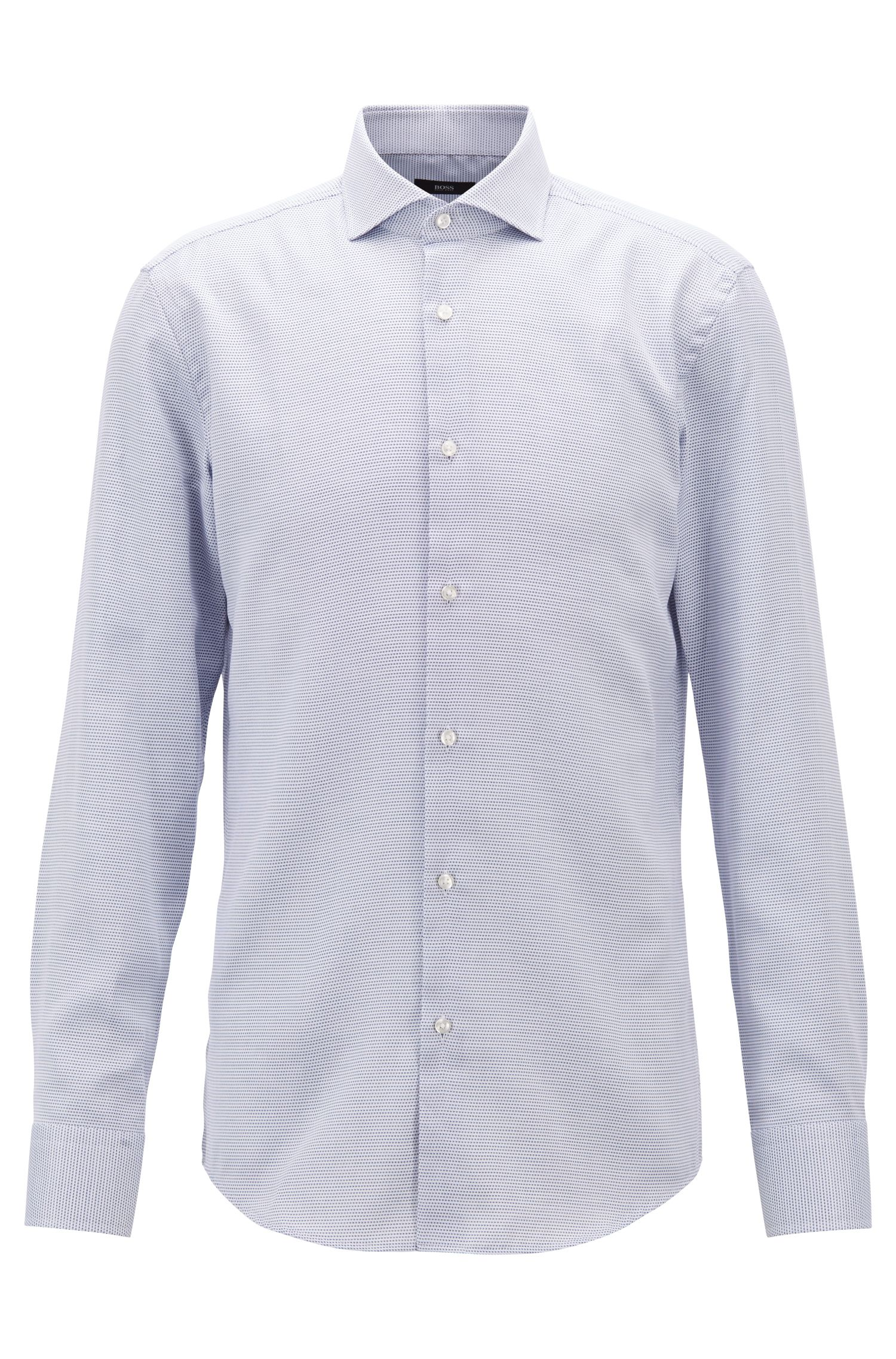 Cotton slim-fit shirt with Coolest Comfort finishing, Dark Blue