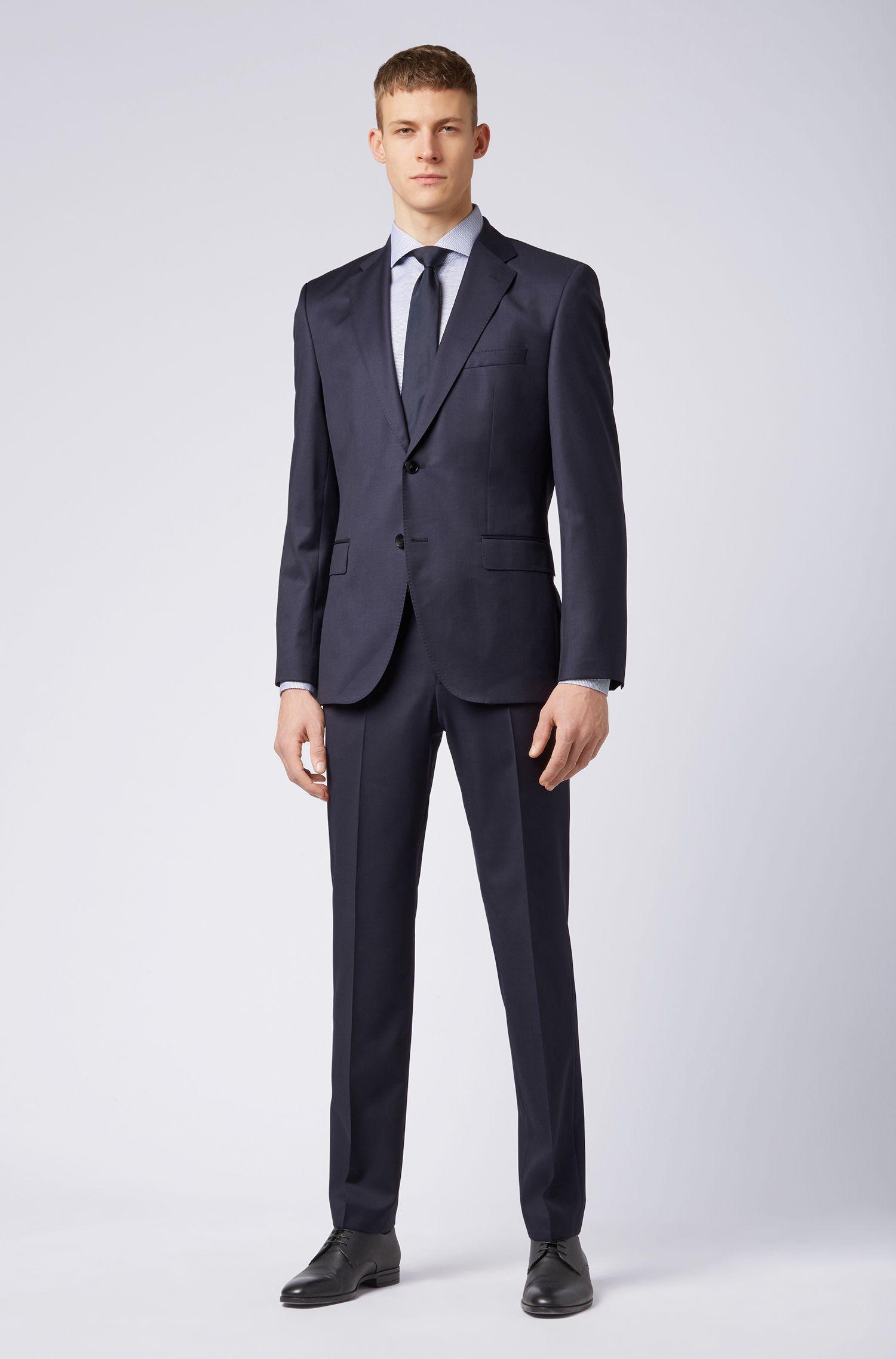 Camisa de algodón slim fit con acabado Coolest Comfort, Azul oscuro