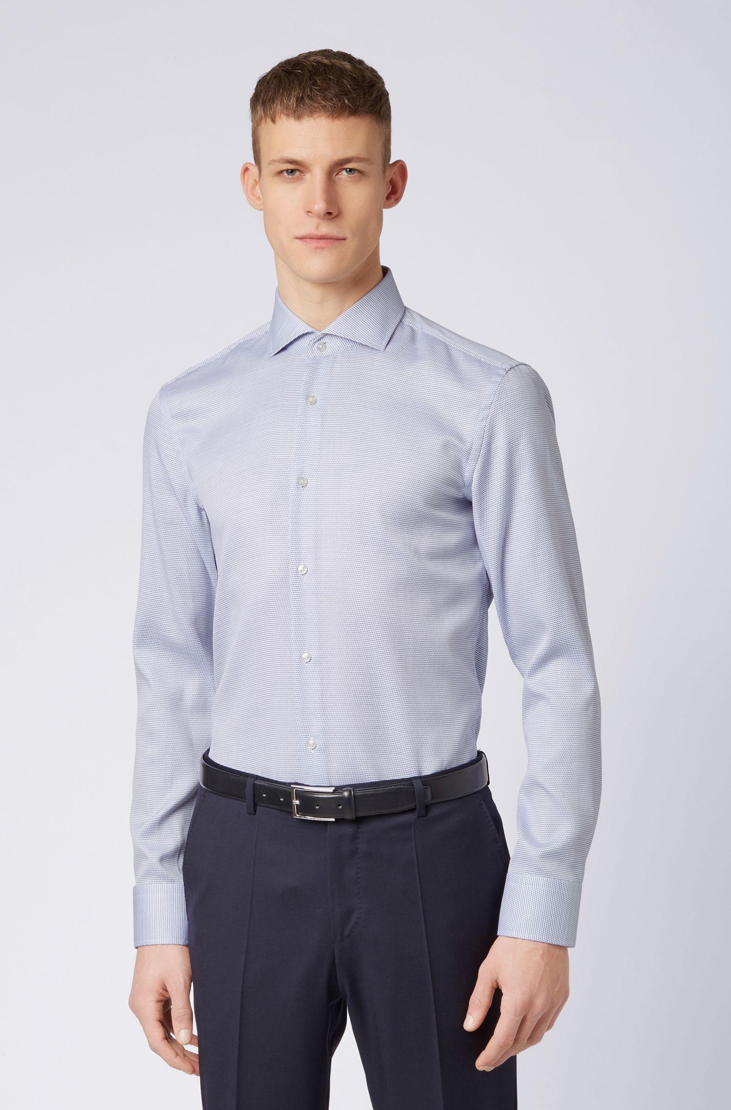 Slim-Fit Hemd aus Baumwolle mit Coolest-Comfort-Finish, Dunkelblau