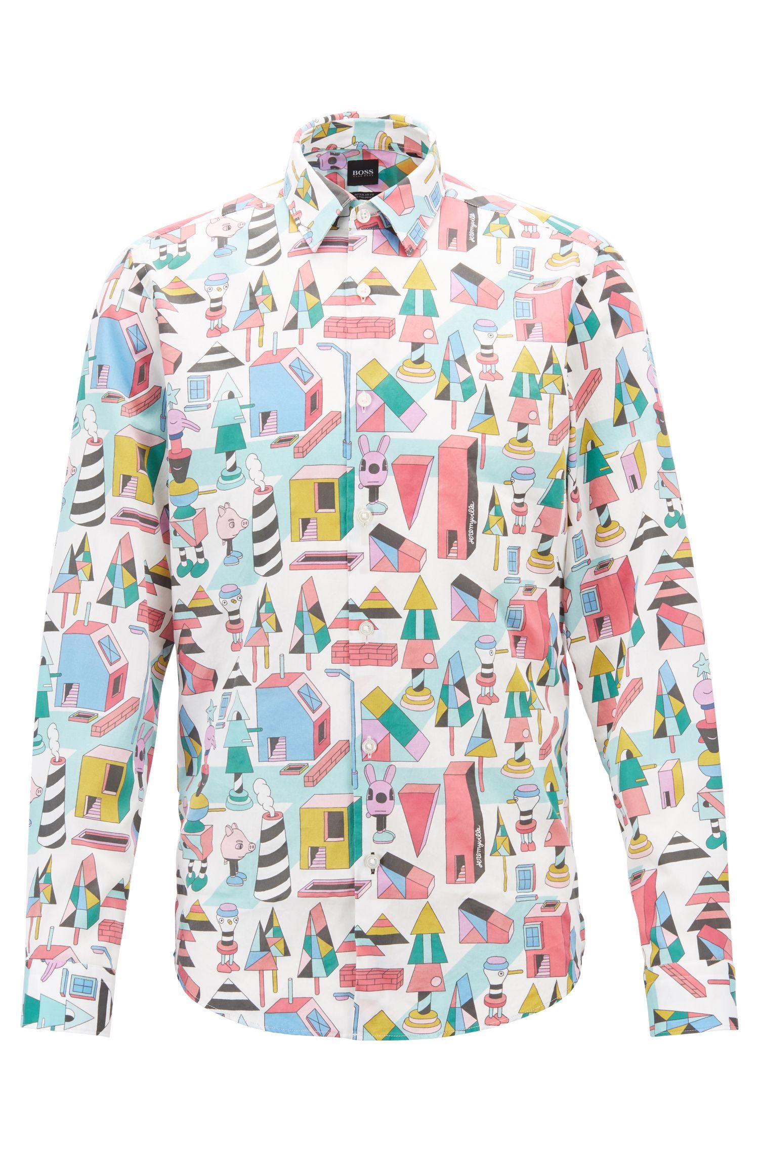 Limited Edition Regular-Fit Hemd aus Satin mit Jeremyville-Print, Gemustert