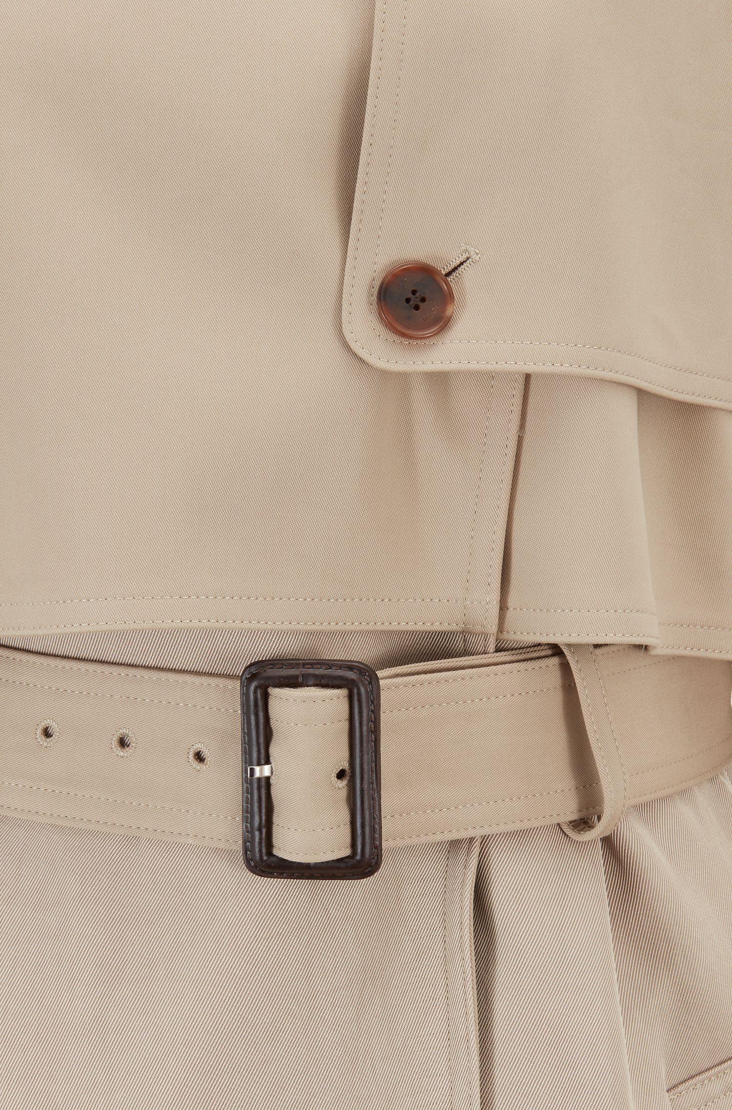 Oversized-fit trench coat in Italian cotton with belt, Beige