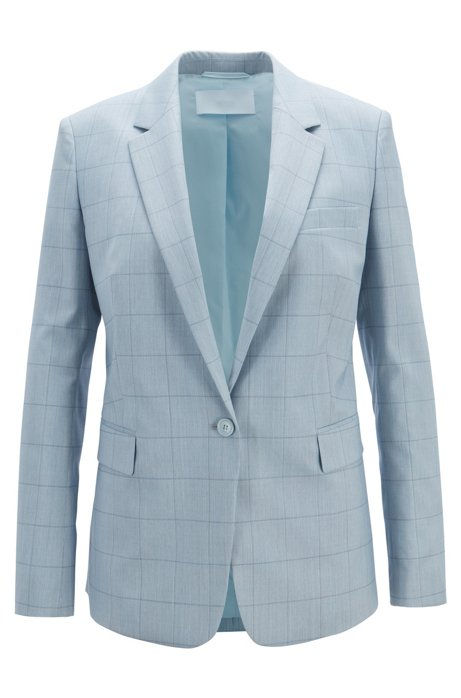Regular-fit colbert van geruite wol met zijde, Bedrukt
