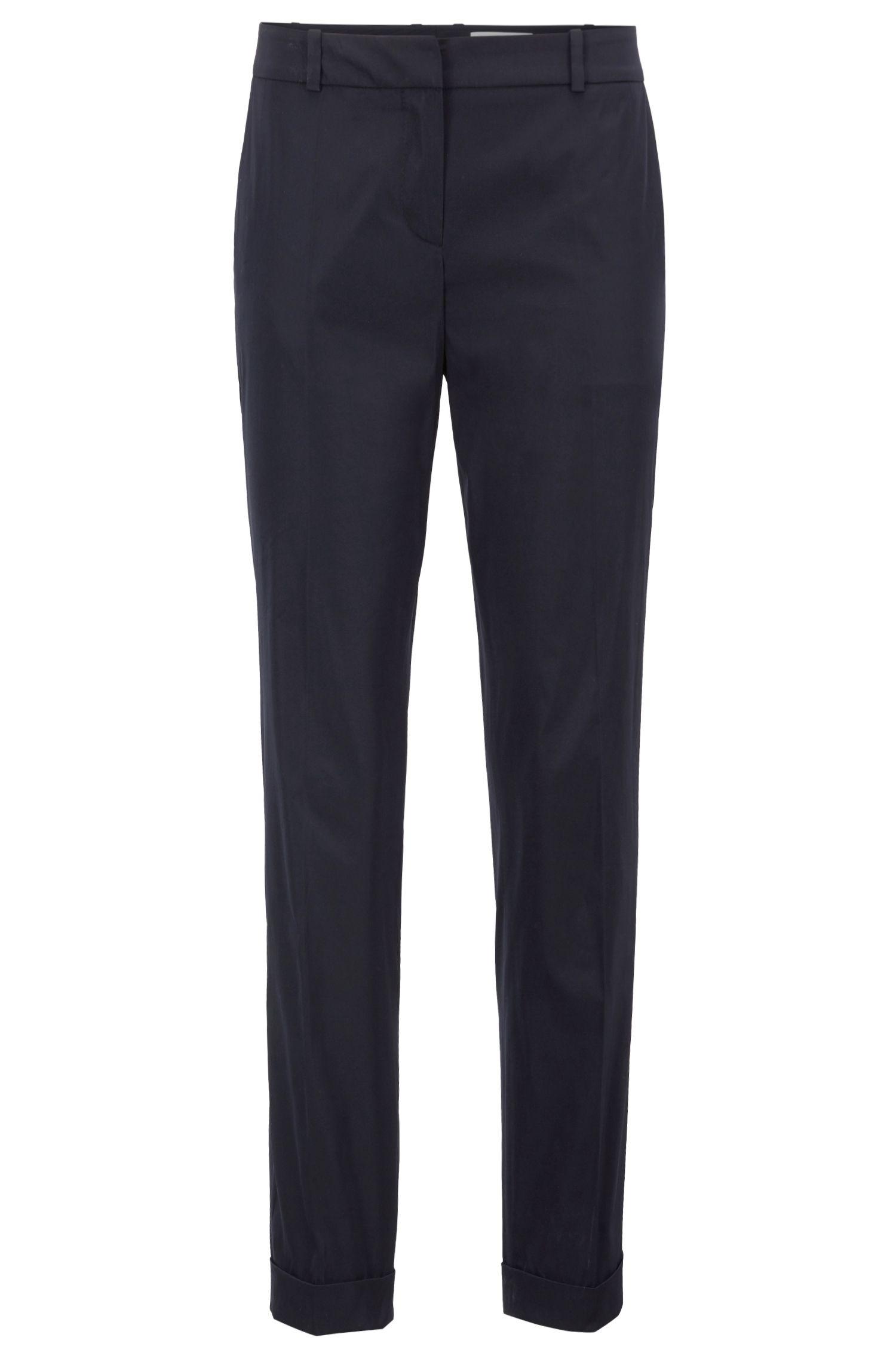 Relaxed-fit trousers in double-woven Italian taffeta, Dark Blue