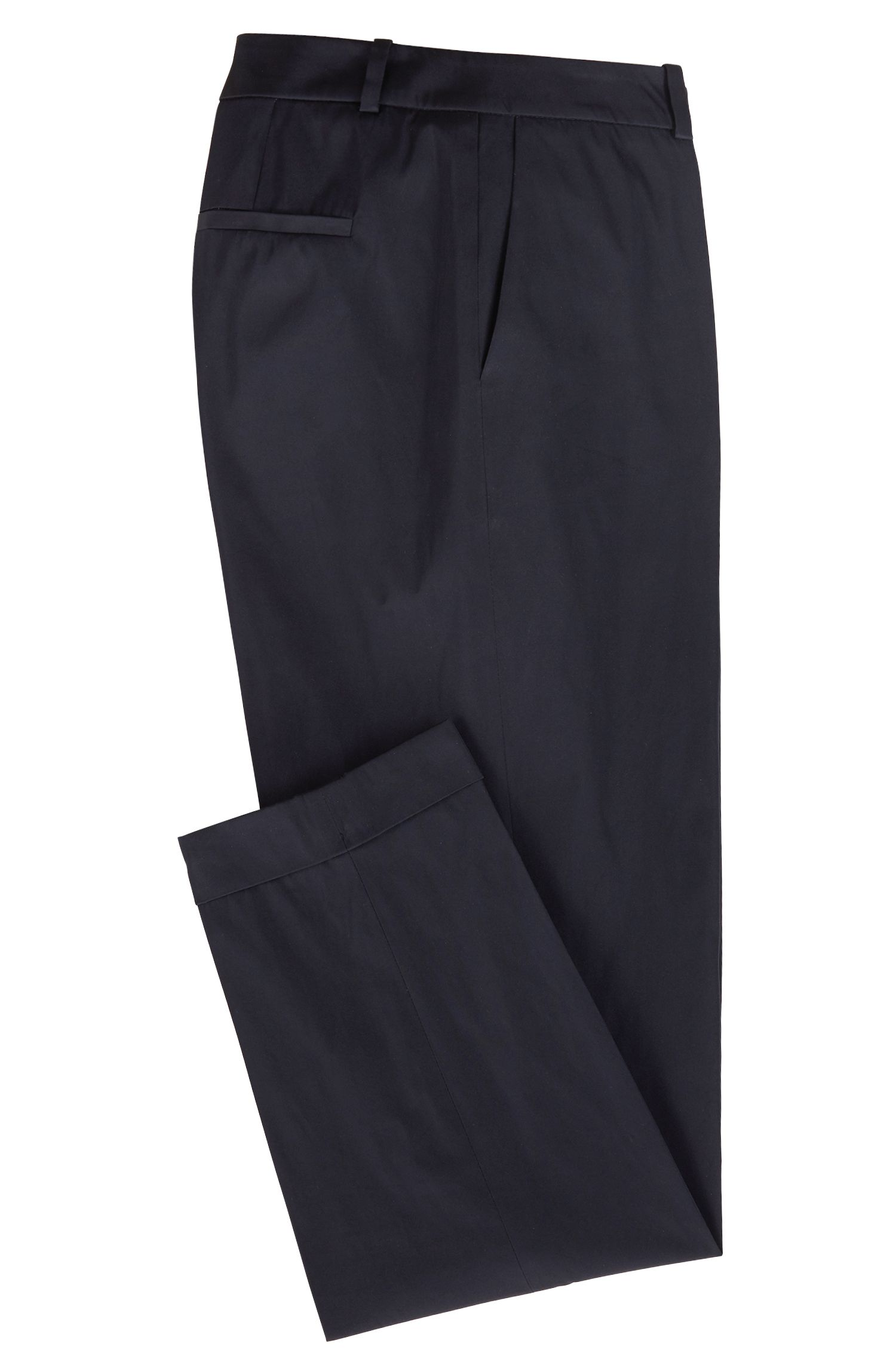 Relaxed-Fit Hose aus doppelt gewebtem italienischem Taft, Dunkelblau