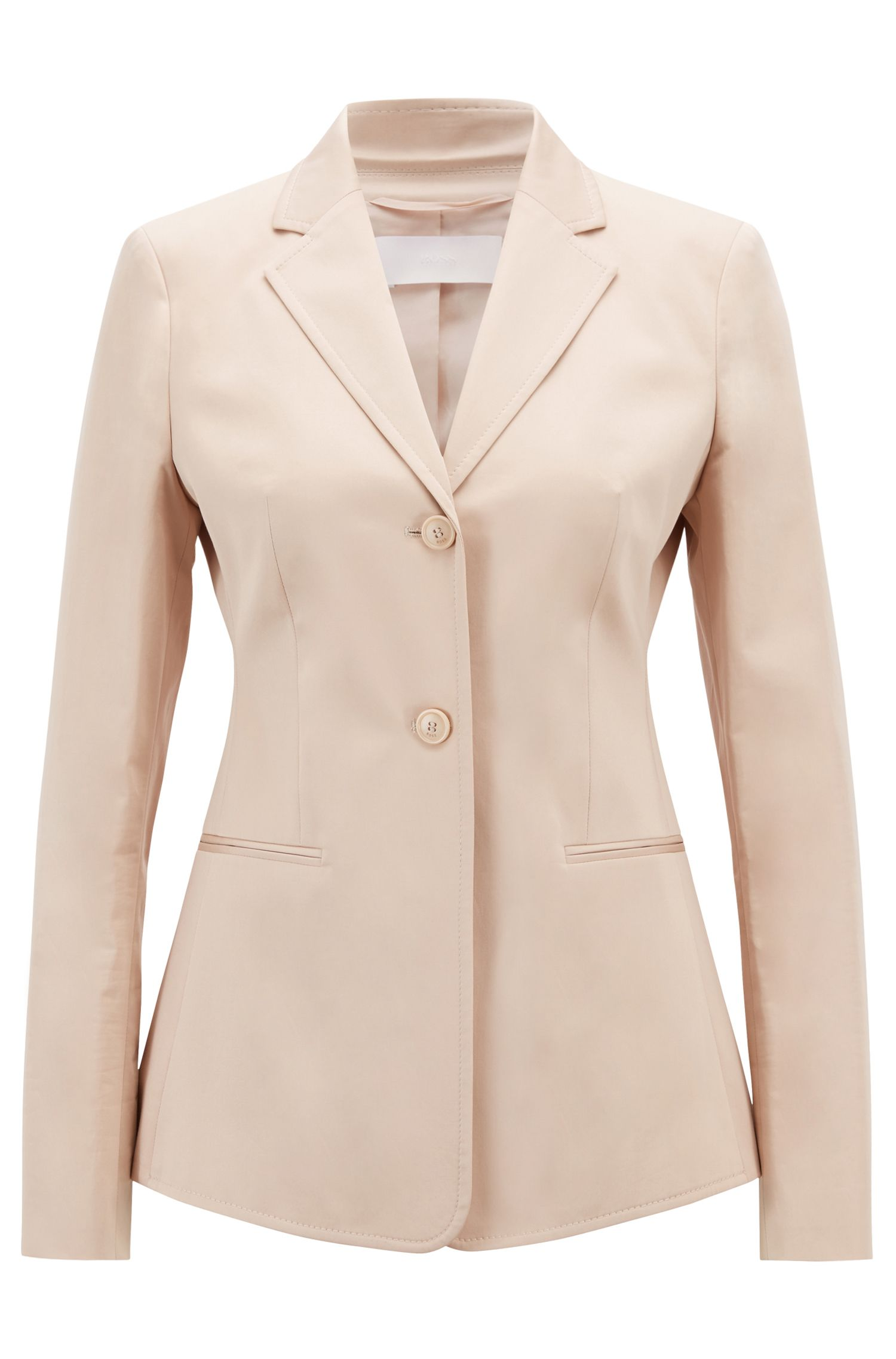 Slim-fit jacket in stretch-cotton satin, Beige