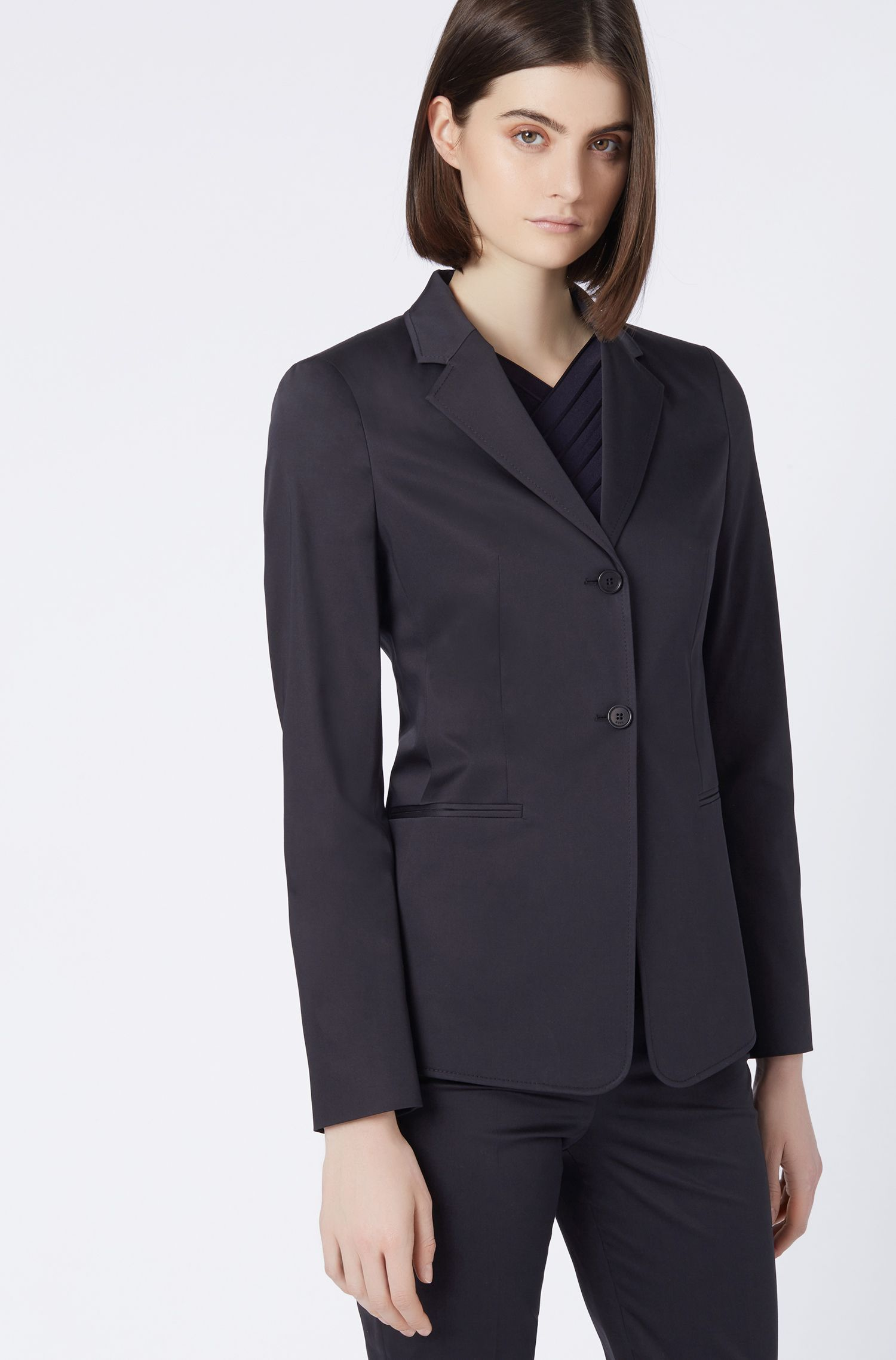 Slim-fit jacket in stretch-cotton satin, Blue
