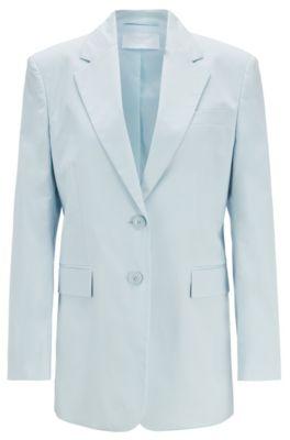 Oversized Blazer aus Stretch-Baumwolle mit Paper-Touch-Effekt, Hellblau
