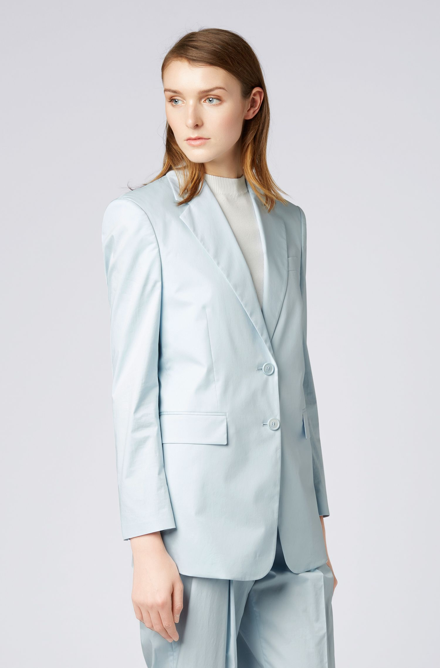 Oversized-fit jacket in paper-touch stretch cotton, Light Blue