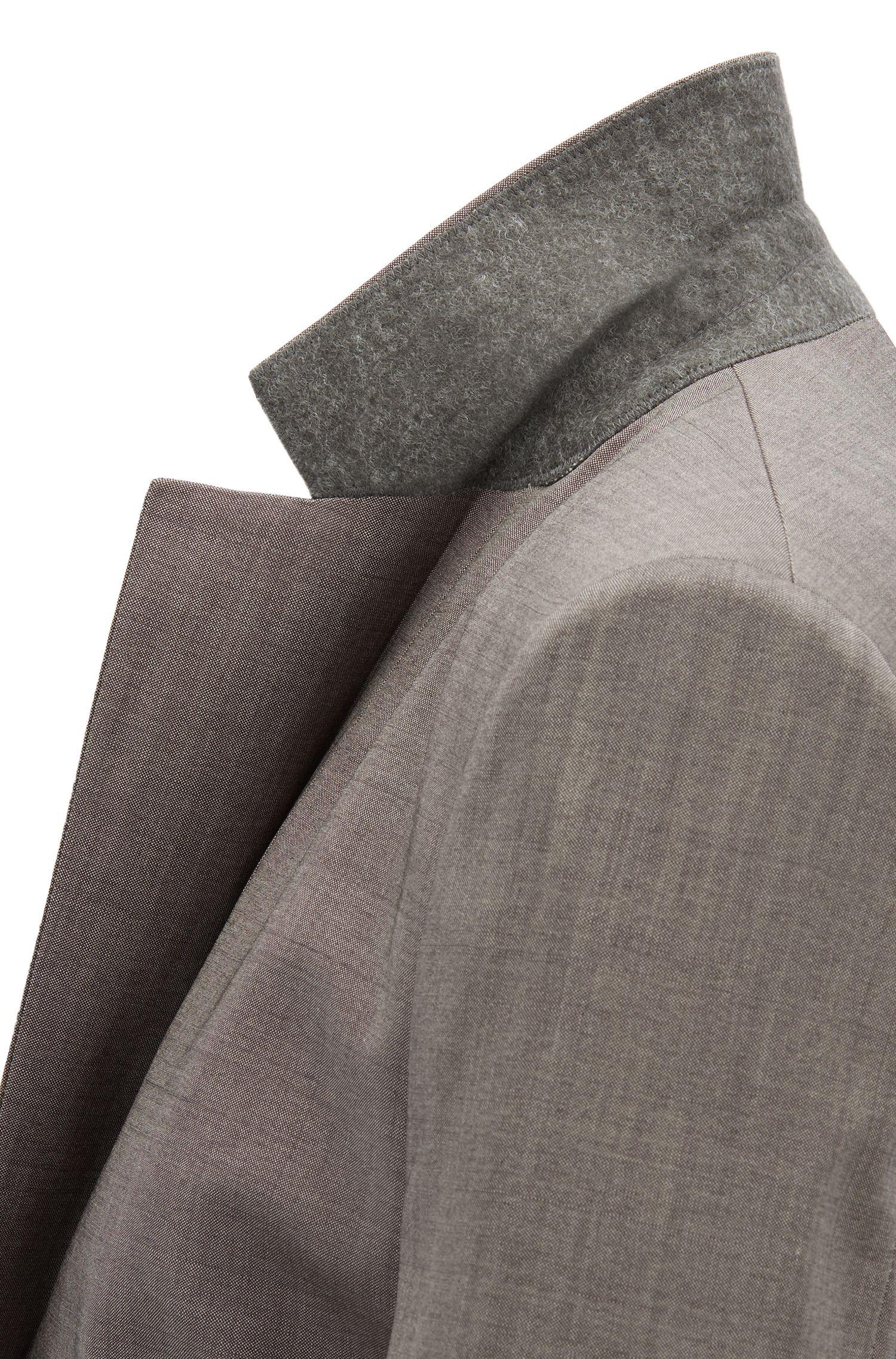Slim-fit jacket in Italian virgin wool, Dark Grey