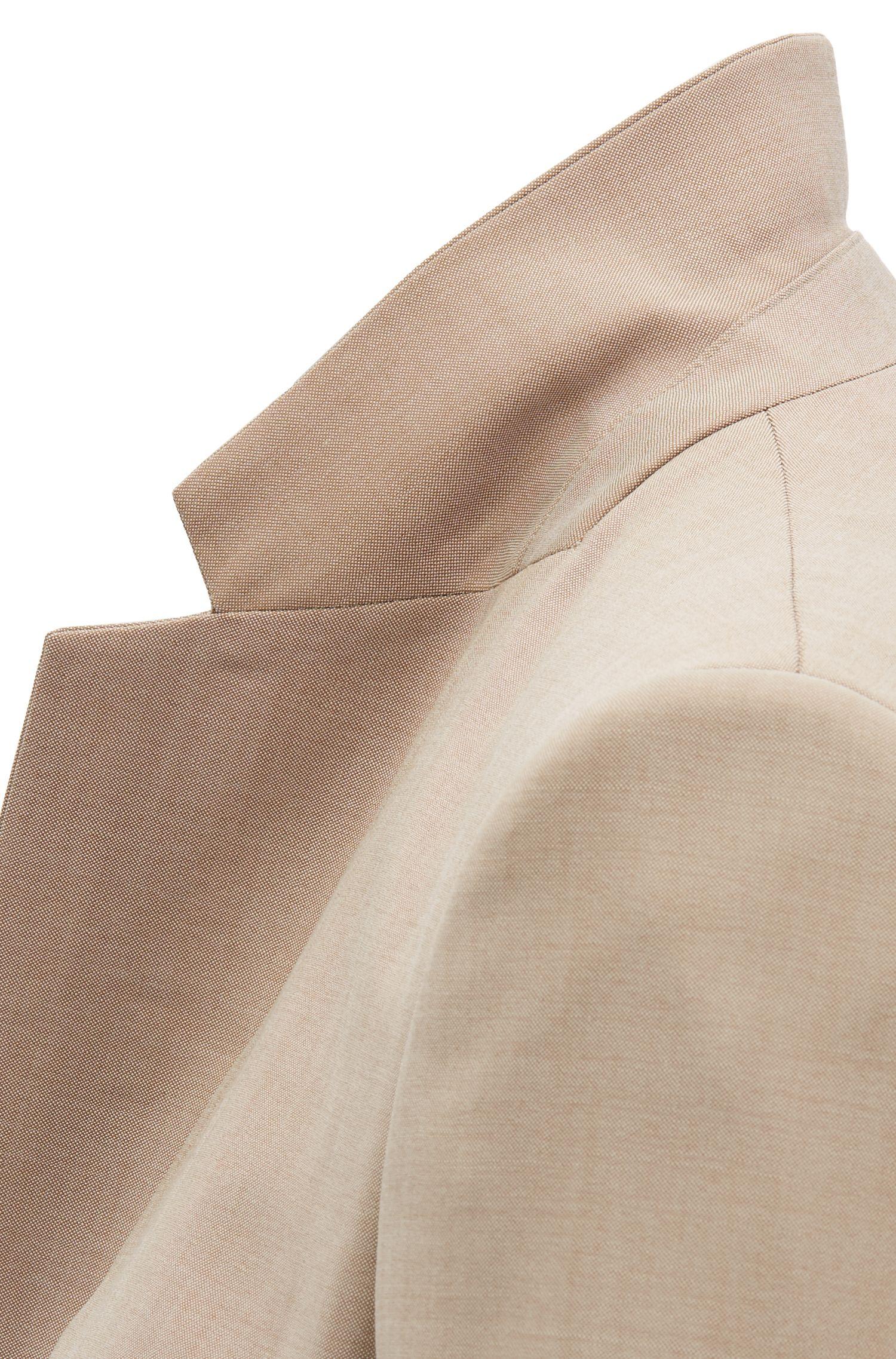 Regular-fit jacket in virgin wool with sharkskin texture, Beige