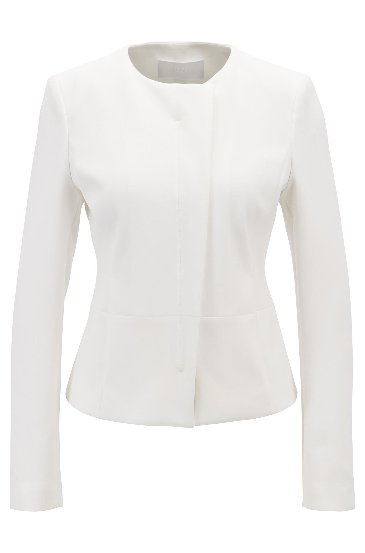 Collarless slim-fit jacket with asymmetric front, Natural