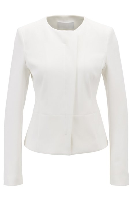 2d2deb88 Collarless slim-fit jacket with asymmetric front, Natural