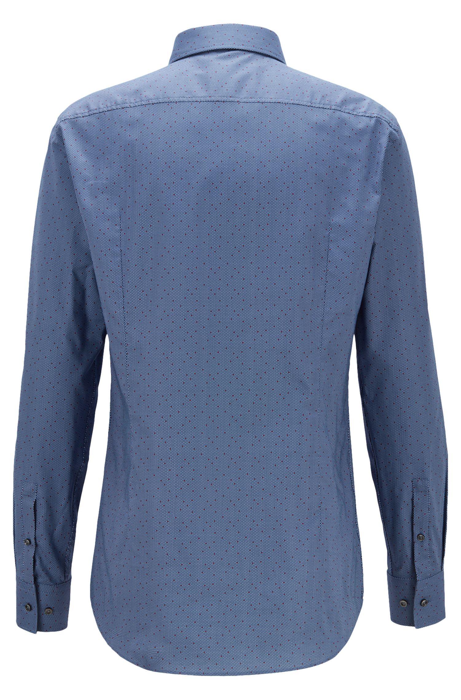 Slim-fit overhemd van Italiaanse katoen met print en microdessin, Donkerblauw