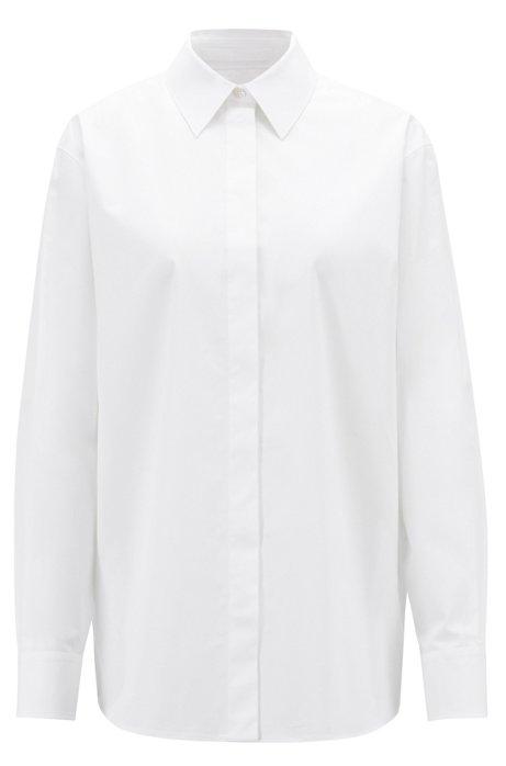 Chemisier Oversized Fit en coton stretch au toucher papier, Blanc