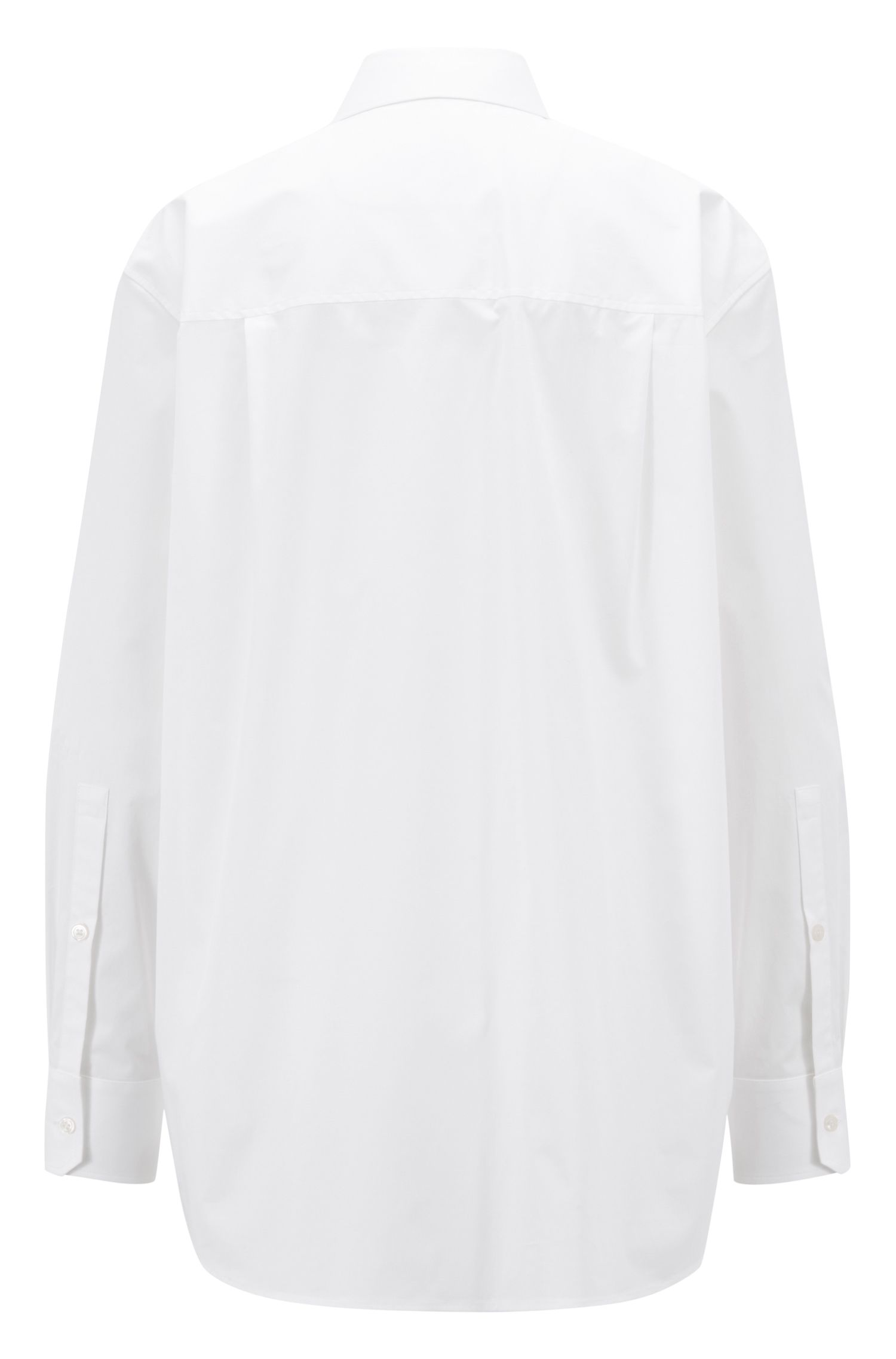 Oversized-fit blouse in paper-touch stretch cotton, White