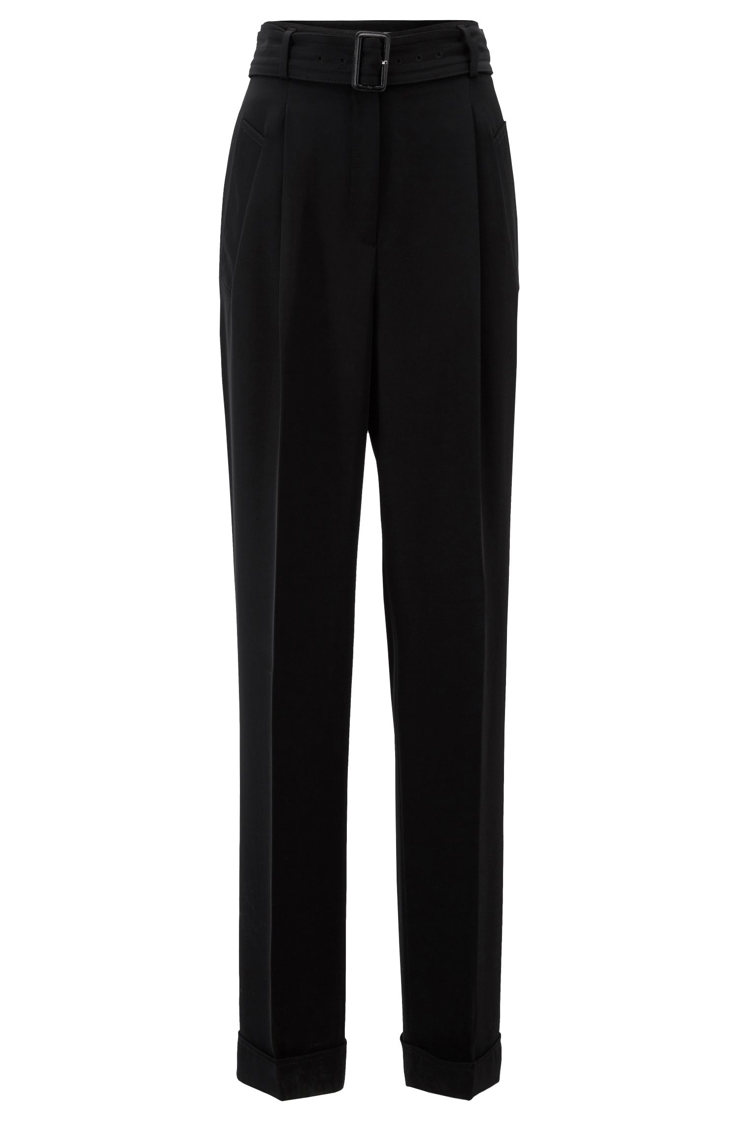 High-waisted wide-leg trousers with belted waist, Black