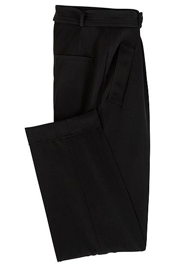 女士商务休闲腰带阔腿长裤,  001_黑色