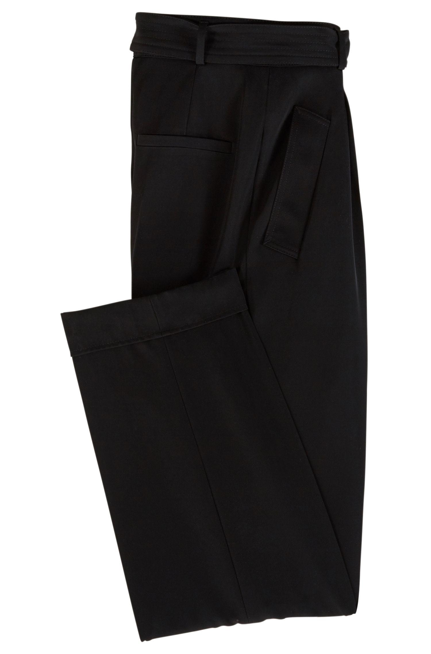 Regular-Fit Hose mit hohem Bund, weitem Beinverlauf und Taillengürtel, Schwarz