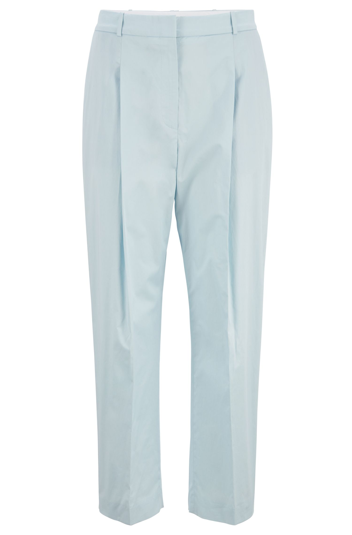 Pantalon court Relaxed Fit en coton stretch au toucher papier, Bleu vif
