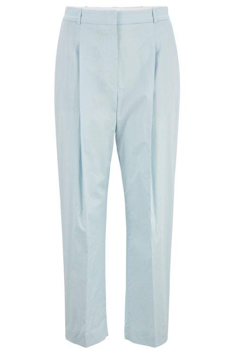 Kortere relaxed-fit broek van papertouch-stretchkatoen, Lichtblauw