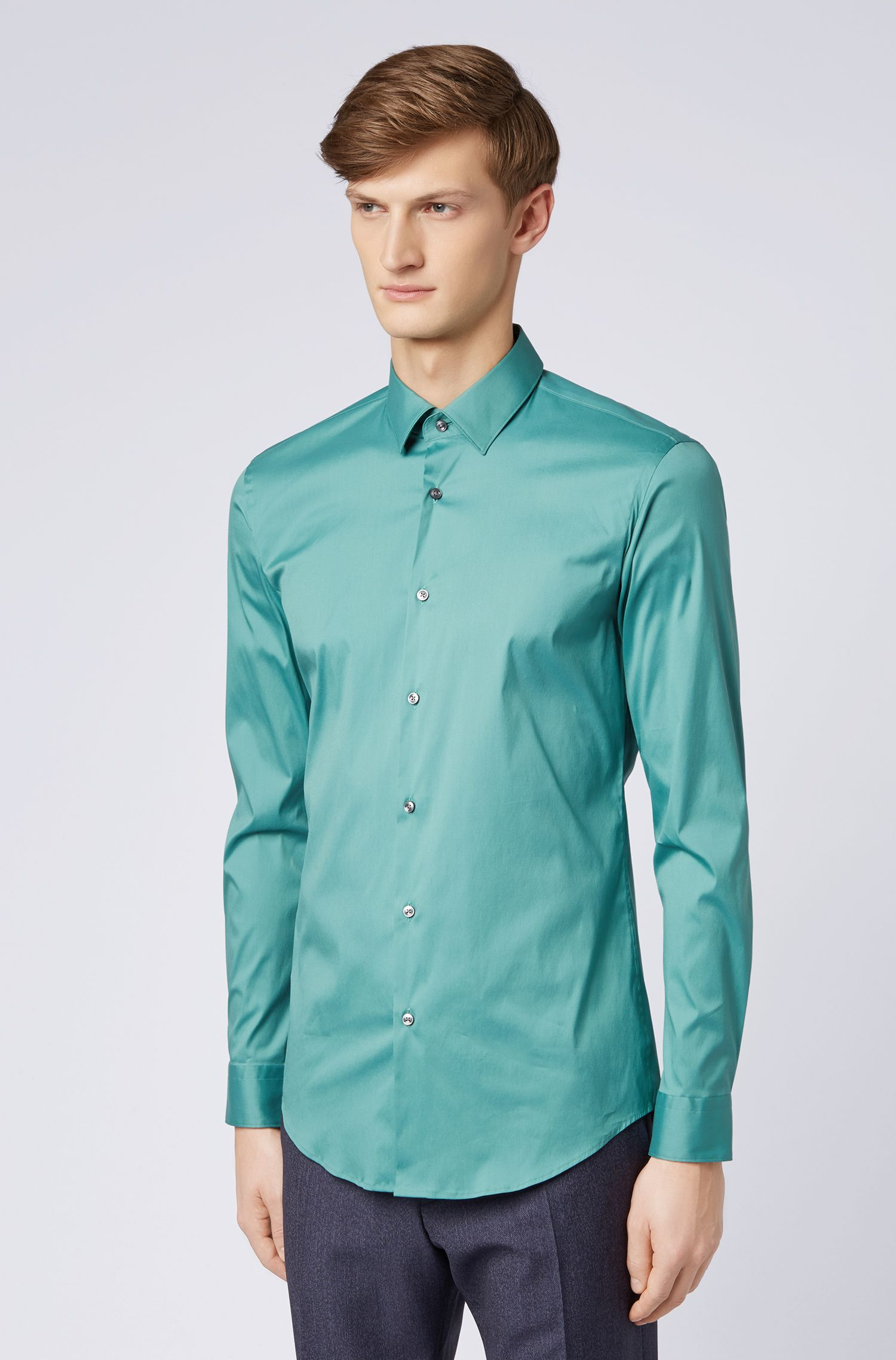 Extra-slim-fit shirt in stretch poplin, Open Green