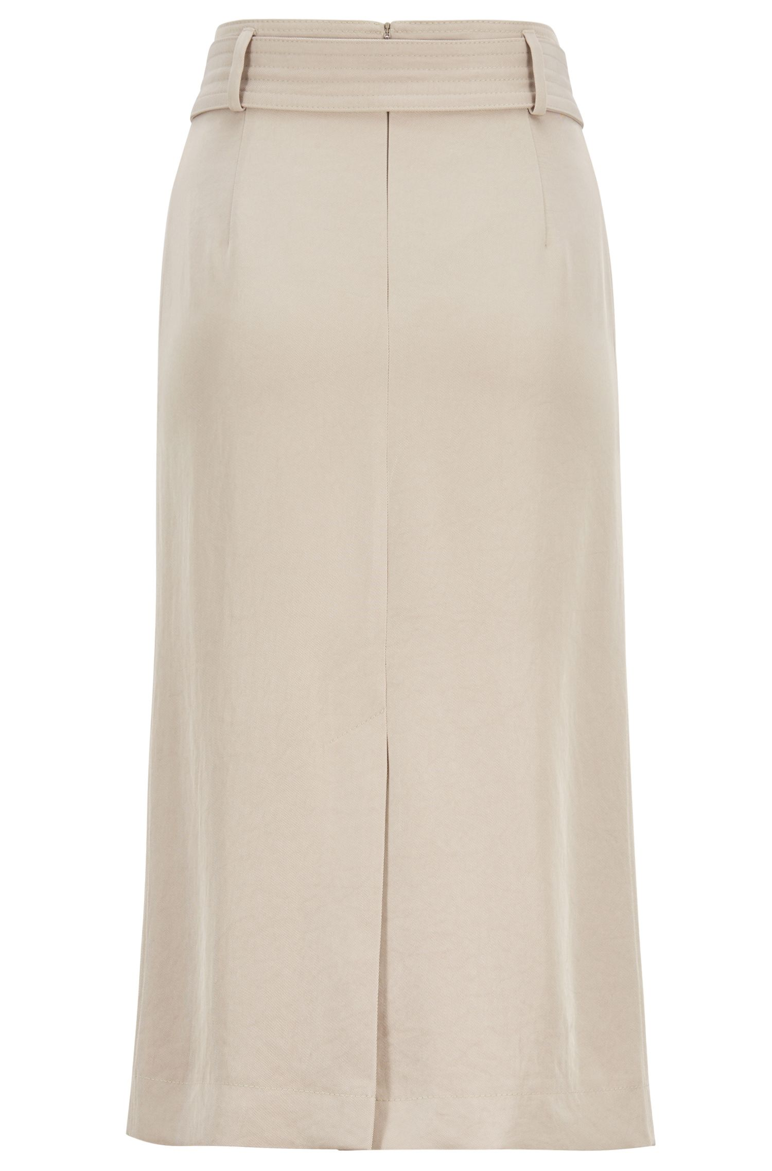 Slim-fit skirt in Japanese twill with statement belt, Beige