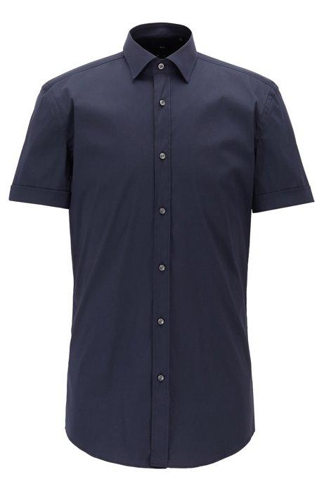 Slim-fit overhemd met korte mouwen in een popeline met stretch, Donkerblauw