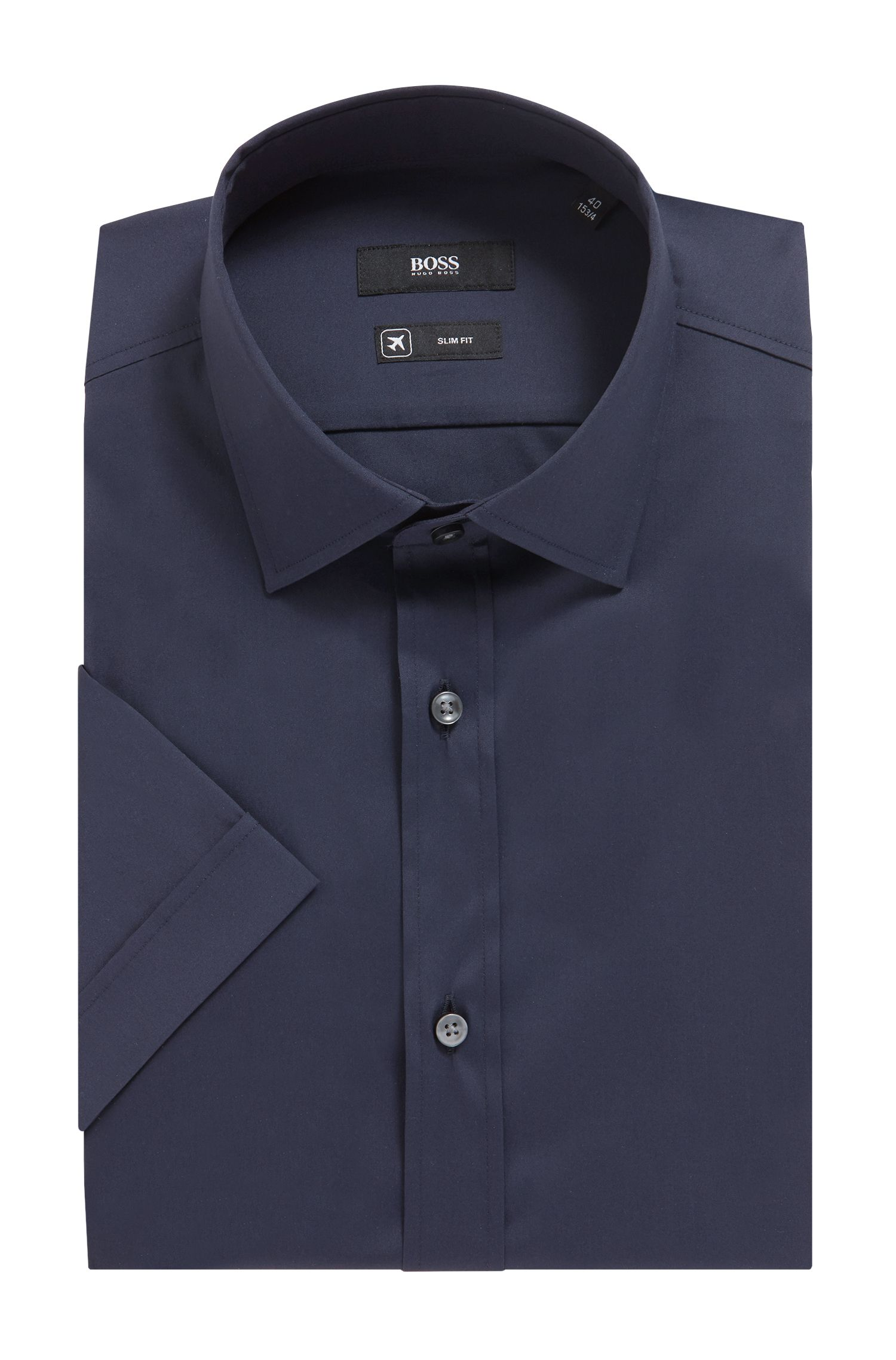Slim-fit short-sleeved shirt in stretch poplin, Dark Blue