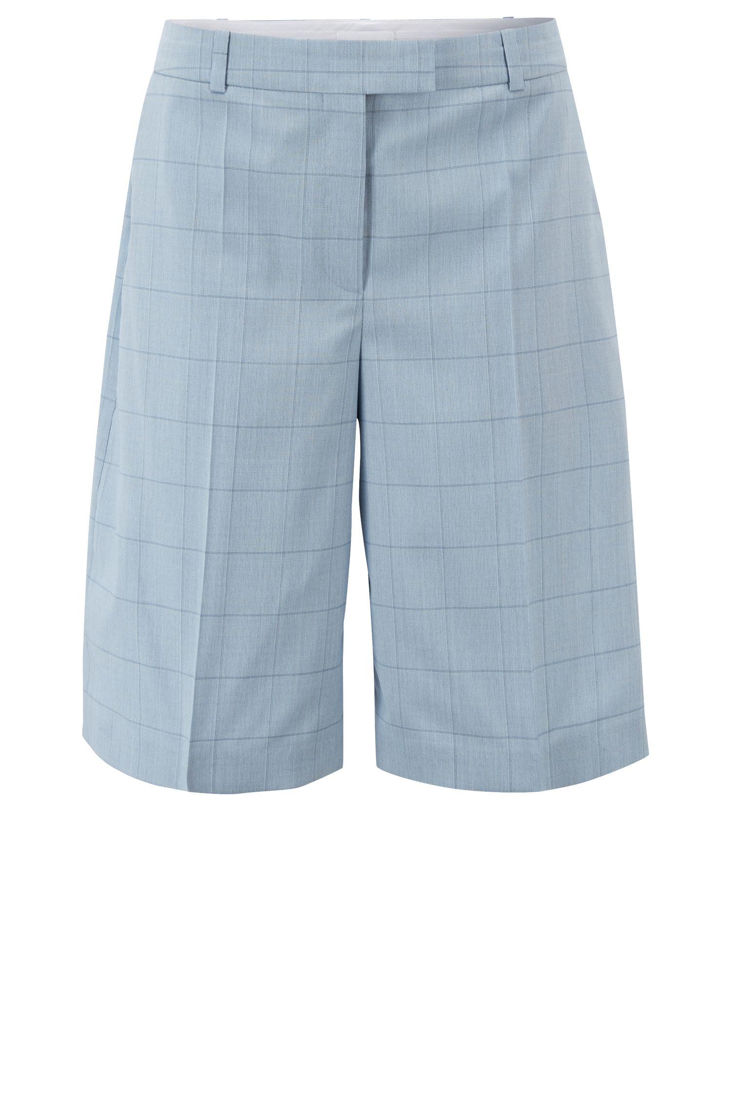 Relaxed-fit short van wol en zijde, Lichtblauw