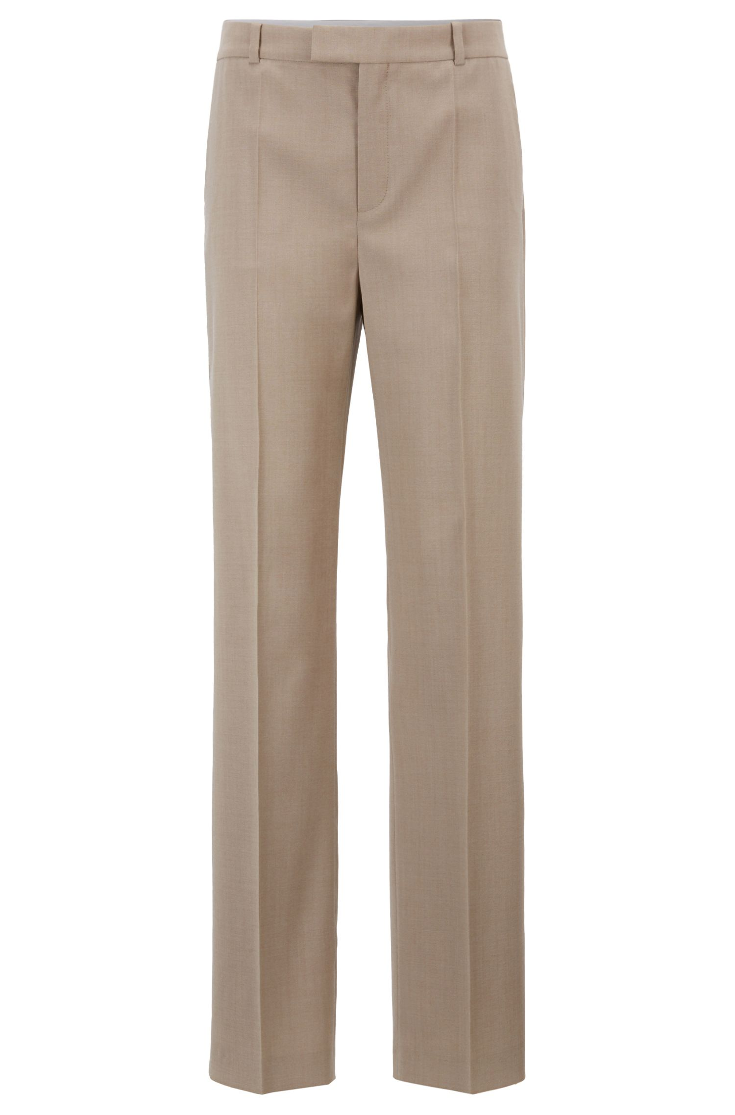 Wide-leg relaxed-fit trousers in virgin-wool sharkskin, Beige