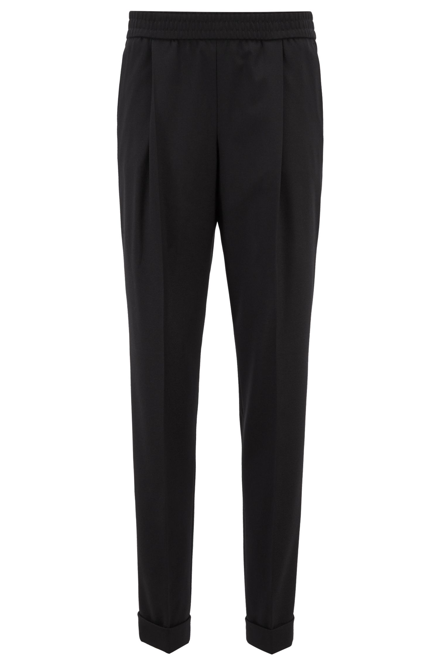 Relaxed-fit tailored trousers with elasticated waist, Black