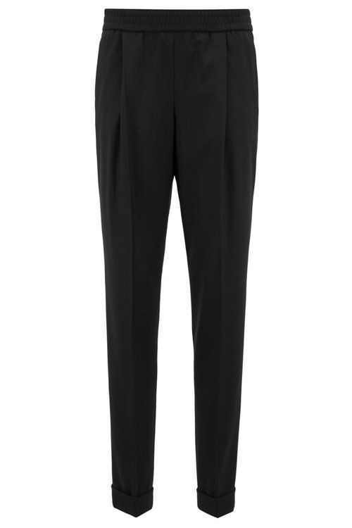 Hugo Boss - Relaxed-fit tailored trousers with elasticated waist - 1
