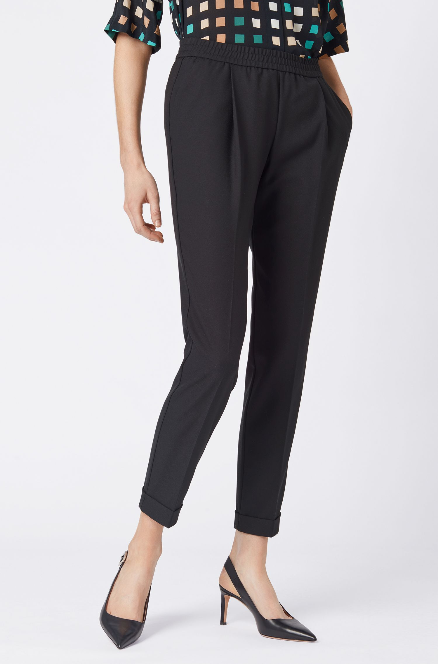 Relaxed-fit tailored trousers with elasticated waist, Dark Blue