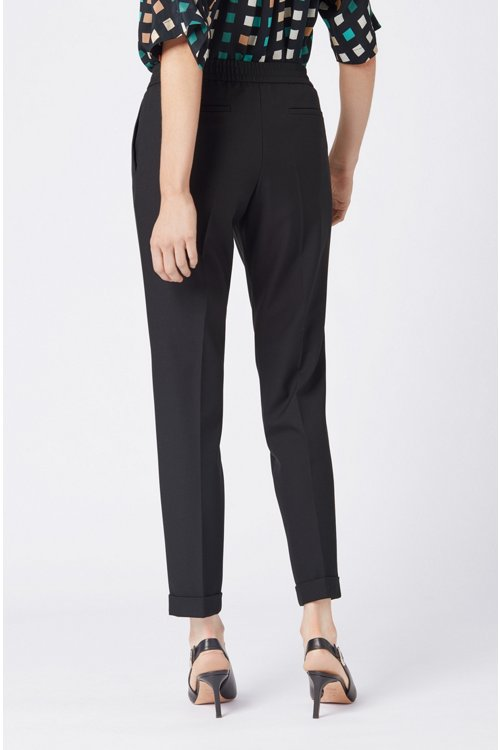 Hugo Boss - Relaxed-fit tailored trousers with elasticated waist - 5
