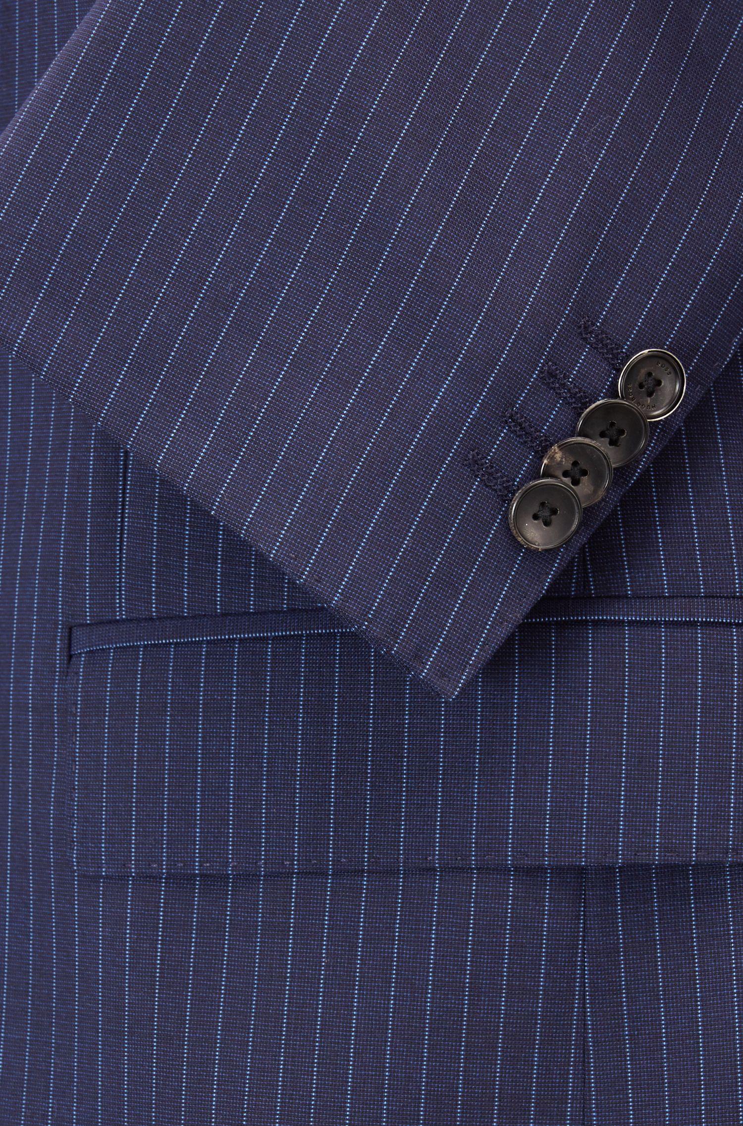 Costume Slim Fit à rayures tennis en laine vierge tropicale, Bleu foncé