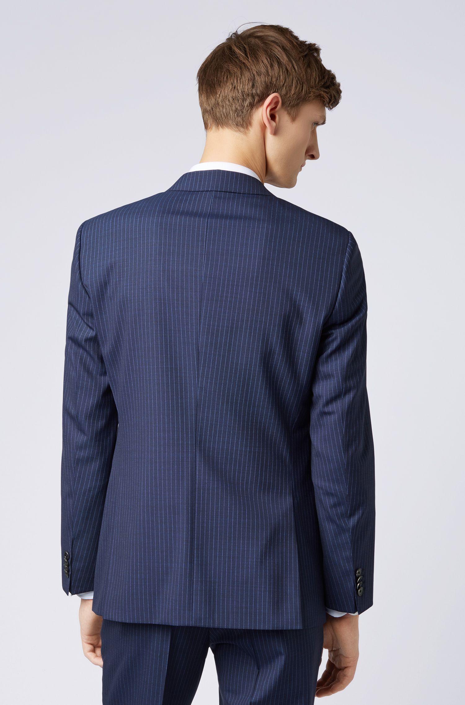 Abito gessato slim fit in lana vergine tropicale, Blu scuro