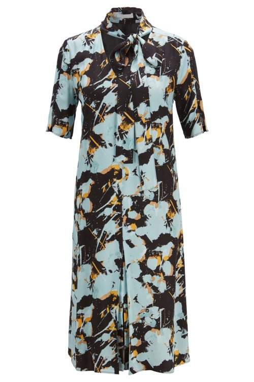 Hugo Boss - Kleid zum Binden mit abstraktem Blumenprint - 1