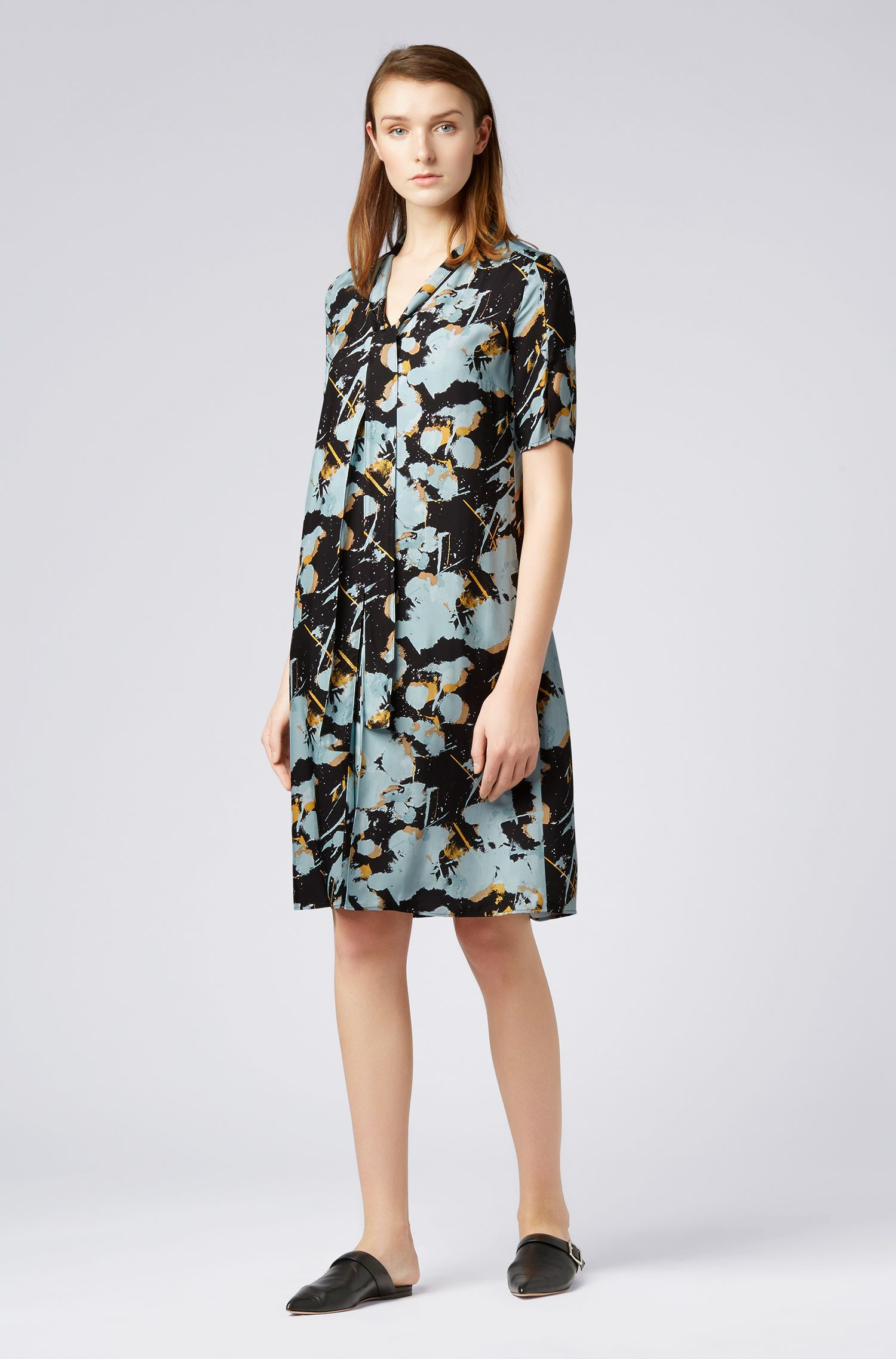 Tie-front dress with abstract floral print, Patterned
