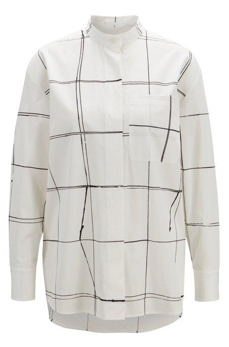 Oversized Bluse aus Baumwolle mit abstraktem Linien-Print, Gemustert