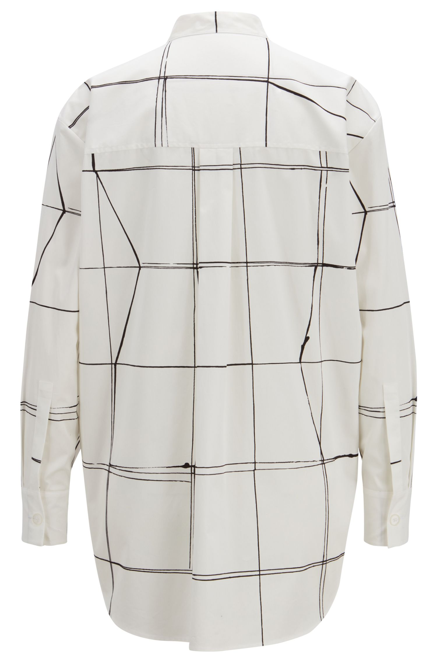 Oversized-fit blouse with abstract line print, Patterned