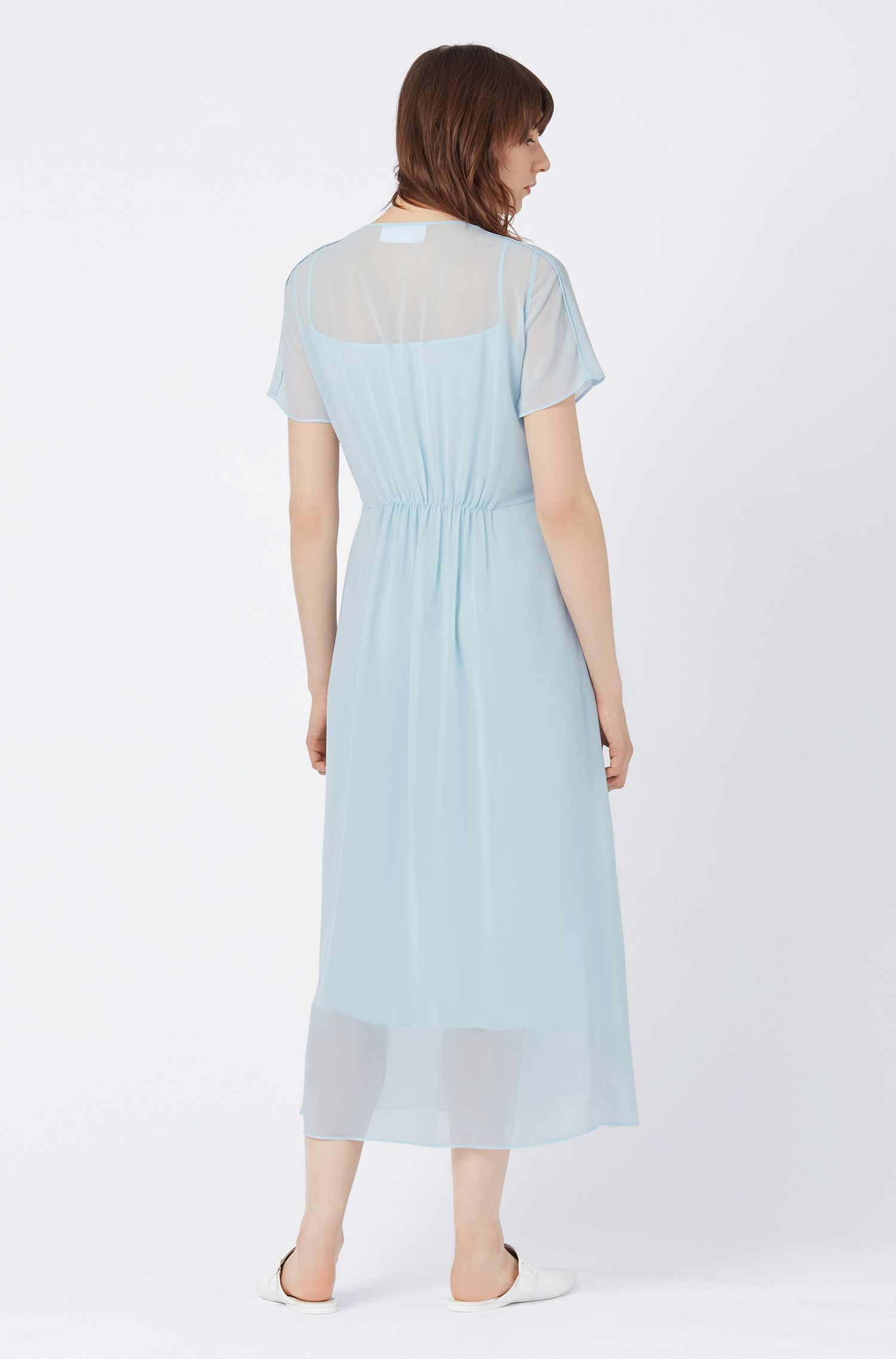 Relaxed-fit dress in transparent Japanese chiffon, Light Blue