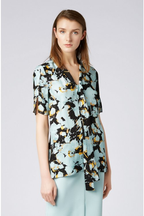 Hugo Boss - Floral-print top with tie neck - 2